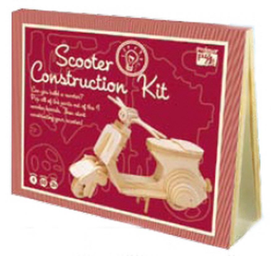 scooter construction wooden model puzzle