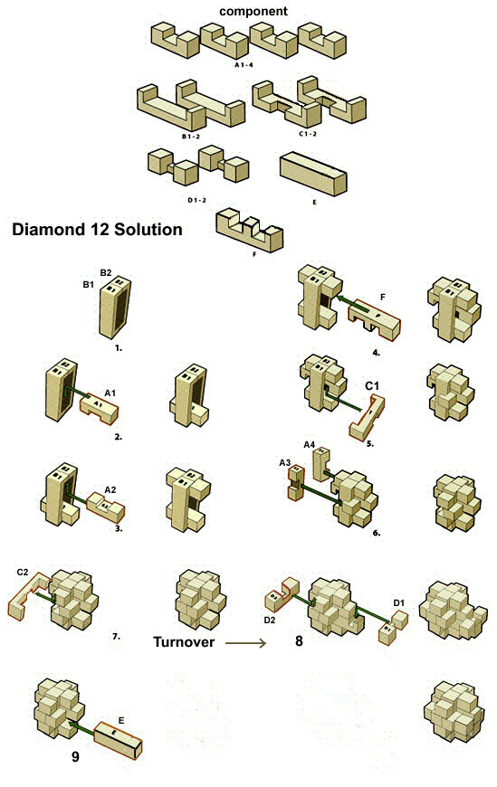 diamond 12 solutions wooden puzzles solution 3D brain teasers jigsaw